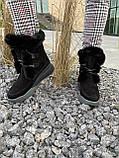 Женские ботинки замшевые зимние черные, фото 7