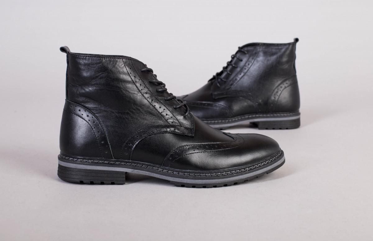 Зимние мужские кожаные черные ботинки Оксфорд