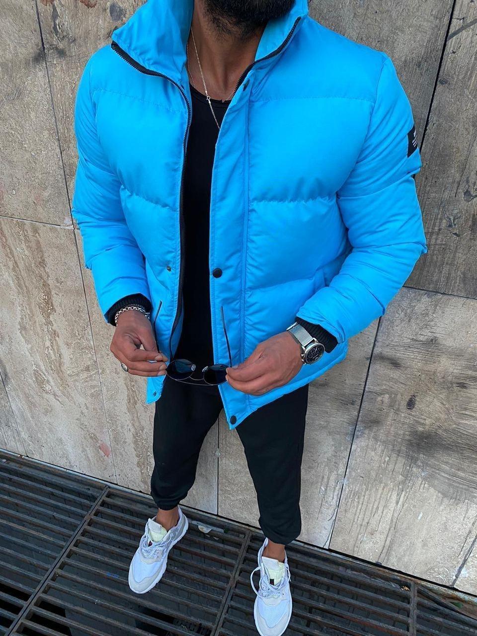 Мужская зимняя куртка голубая 8779-9