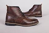 Мужские зимние кожаные коричневые ботинки Оксфорд, фото 2