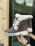 Женские ботинки замшевые зимние бежевые, фото 3