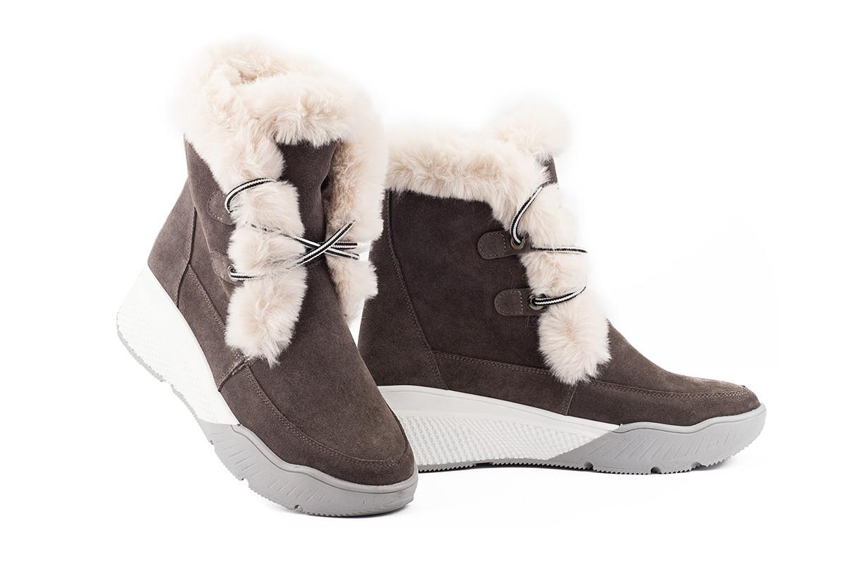 Женские ботинки замшевые зимние бежевые