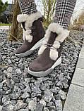 Женские ботинки замшевые зимние бежевые, фото 6
