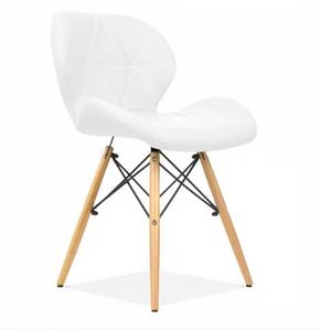 М'який стілець Star-NN білий кожзам на дерев'яних ніжках Лофт