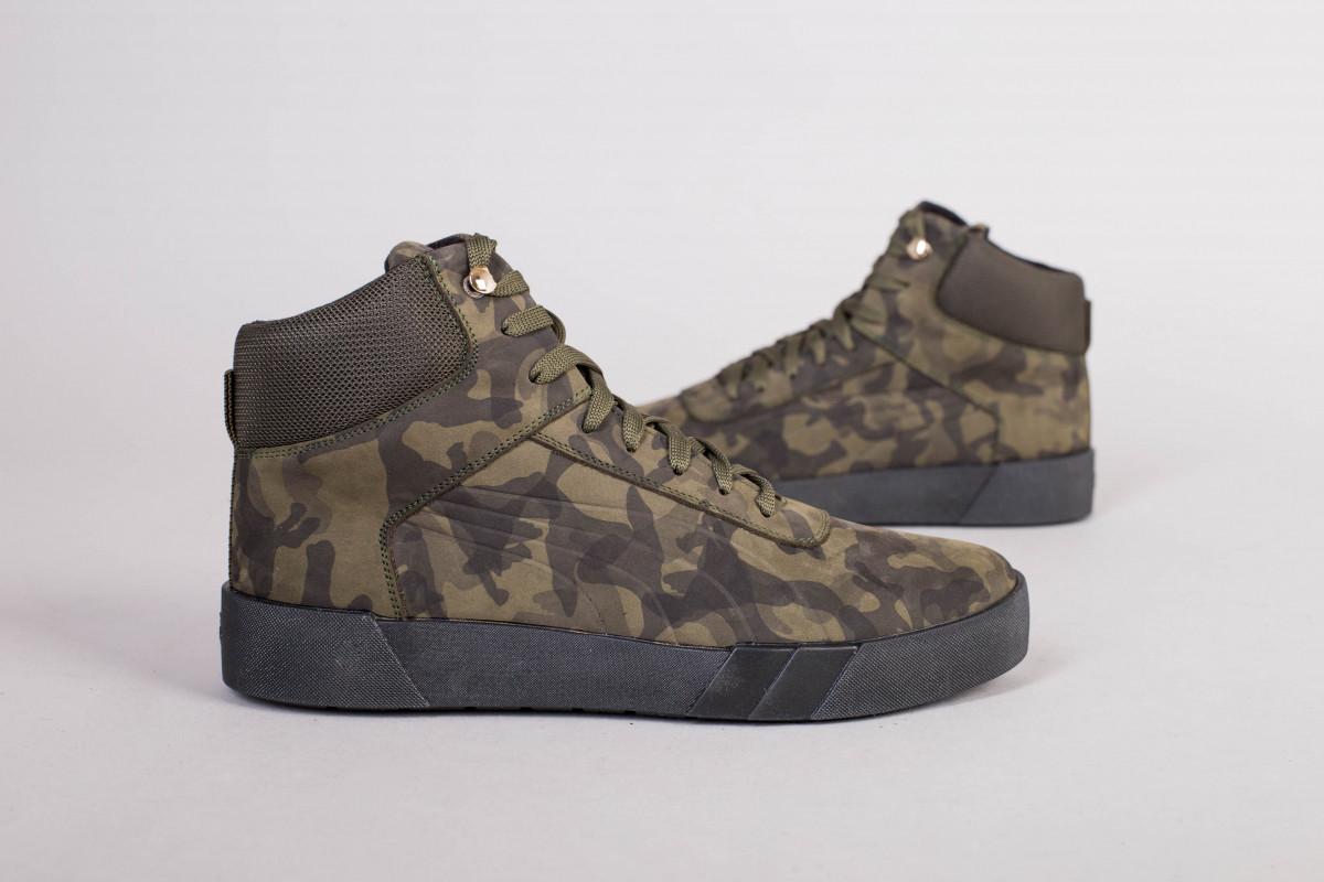 Мужские зимние замшевые ботинки, цвет хаки
