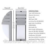 Светильник садово-парковый фасадный WL-2308 LED  8W 3000К  серый IP65, фото 2
