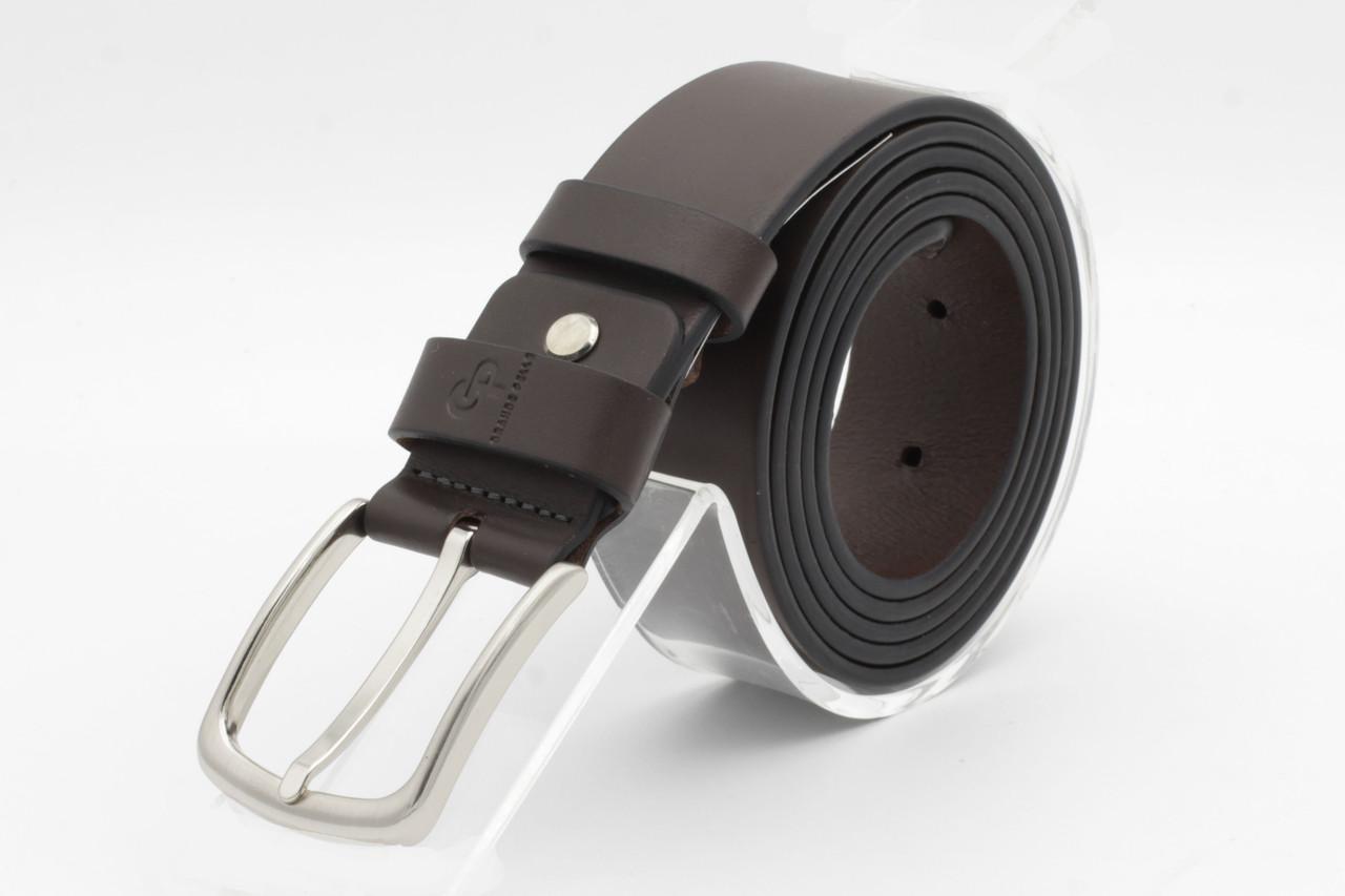 Кожаный удлиненный ремень (БАТАЛ) с классической пряжкой. Grande Pelle.