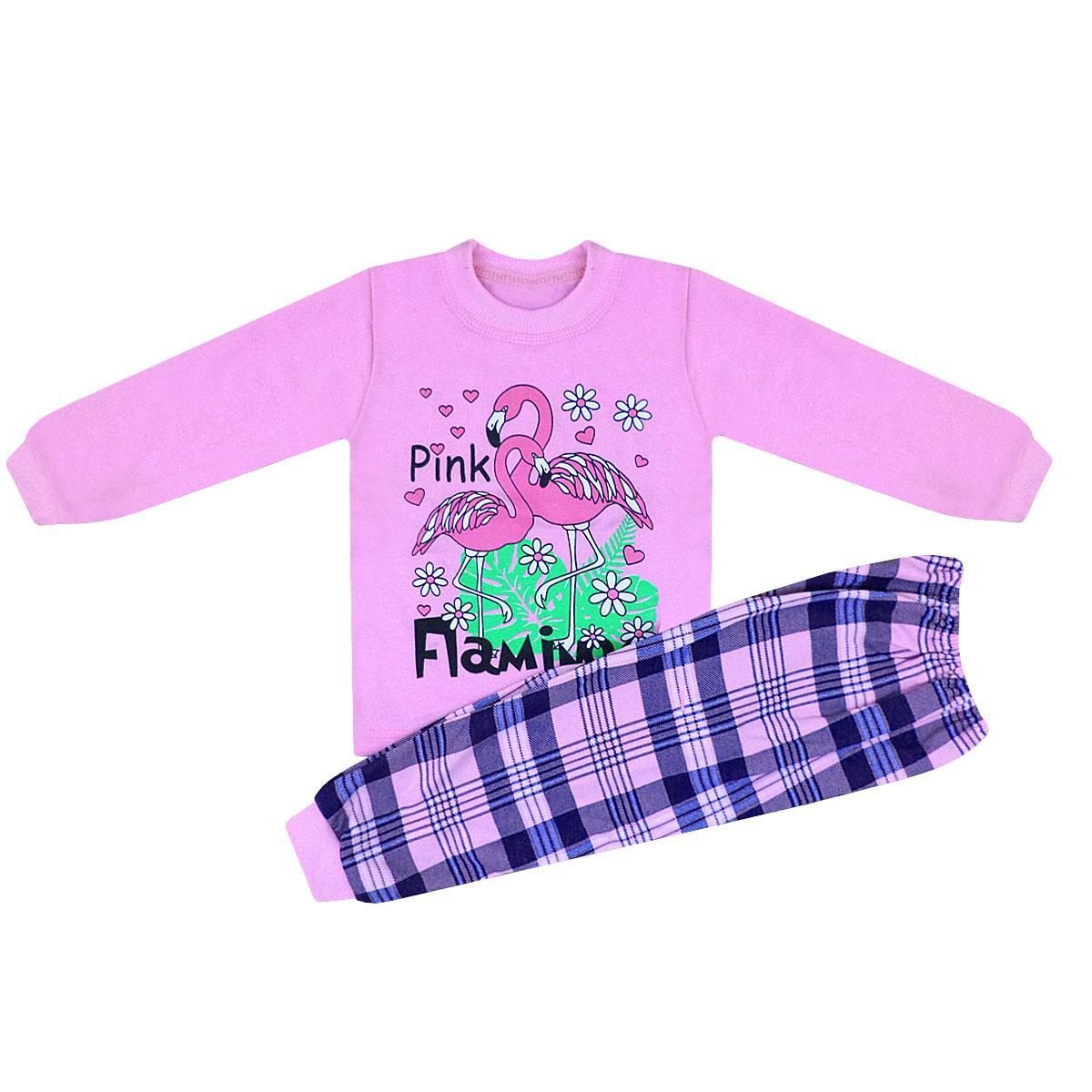 Пижама подростковая цветная для девочки Фламинго начес