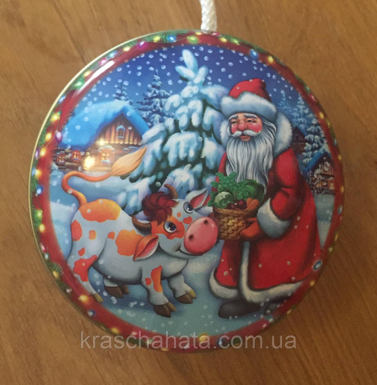 Новогодняя коробка, Дед Мороз, 10х4,5 см, Жестяная упаковка для конфет, 100 гр, Круглая коробка для конфет