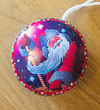 Новогодняя коробка, Дед Мороз, 10х4,5 см, Жестяная упаковка для конфет, 100 гр, Круглая коробка для конфет, фото 2