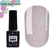 Kira Nails French Base Opal № 001 - камуфлирующая база (опал), 6 мл