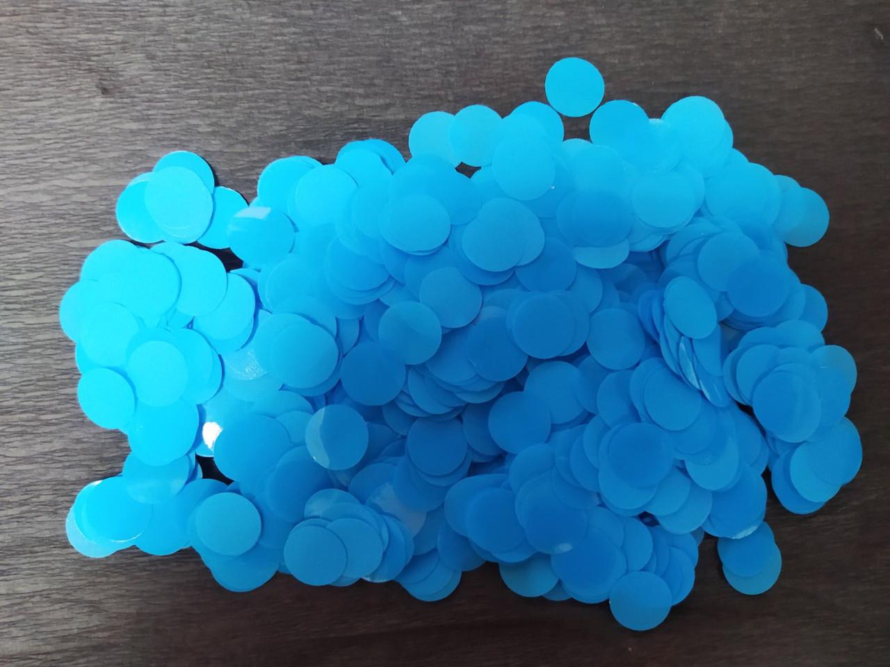 Аксесуари для свята конфеті кружечки блакитний 12 мм х 12 мм 100 грам