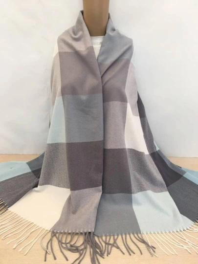 Палантин кашемир в клетку шарф женский  с бахромой тёплый стильный
