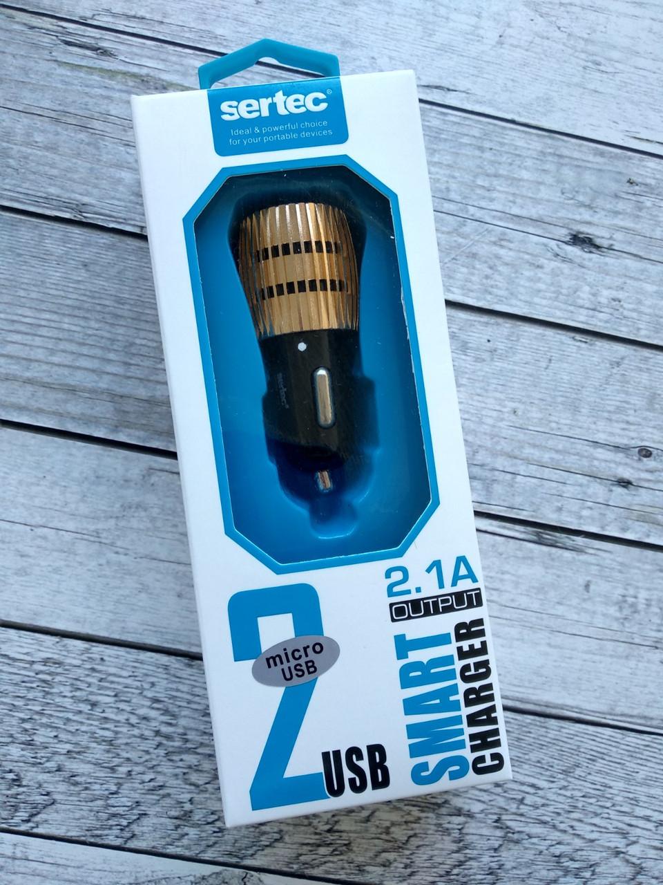 Автомобильное зарядное устройство Sertec ST-212 2100 mAh 2 Usb + кабель Micro Usb Black/gold