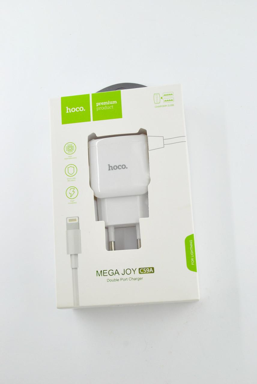 Зарядное устройство HOCO С59A 2.4A 2 Usb + кабель iPhone 5 White