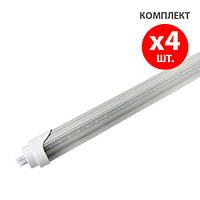Комплект 4шт: LED лампы Ledmax Т8 светодиодные с цоколем 4xG13 9W 600мм, прозрачная (тёплый)