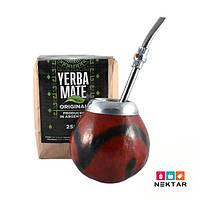 Подарочный чайный комплект «Матейро» чай Мате, калебас, бомбилья, буклет, пакет