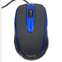 Мышь проводная Havit HV-MS753 USB черный/синый