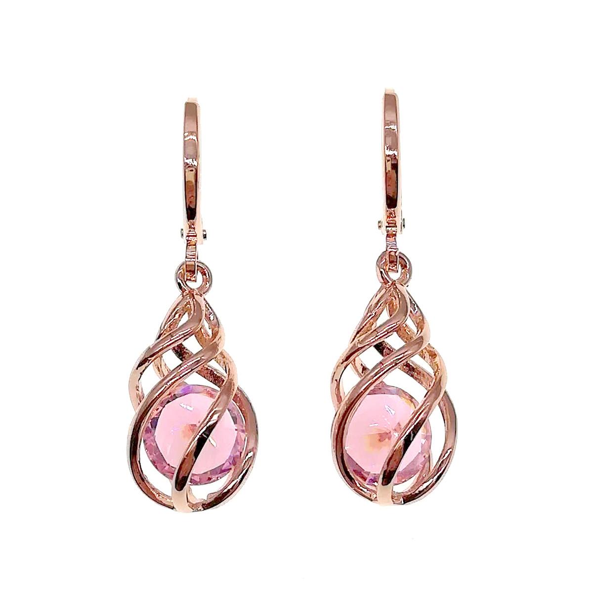 Серьги SONATA из медицинского золота, розовые фианиты, позолота PO, 24032