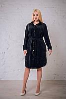 Женское платье - рубашка вельвет черного цвета от производителя. Размеры: 52, 54, 56, 58. Замеры в описании.
