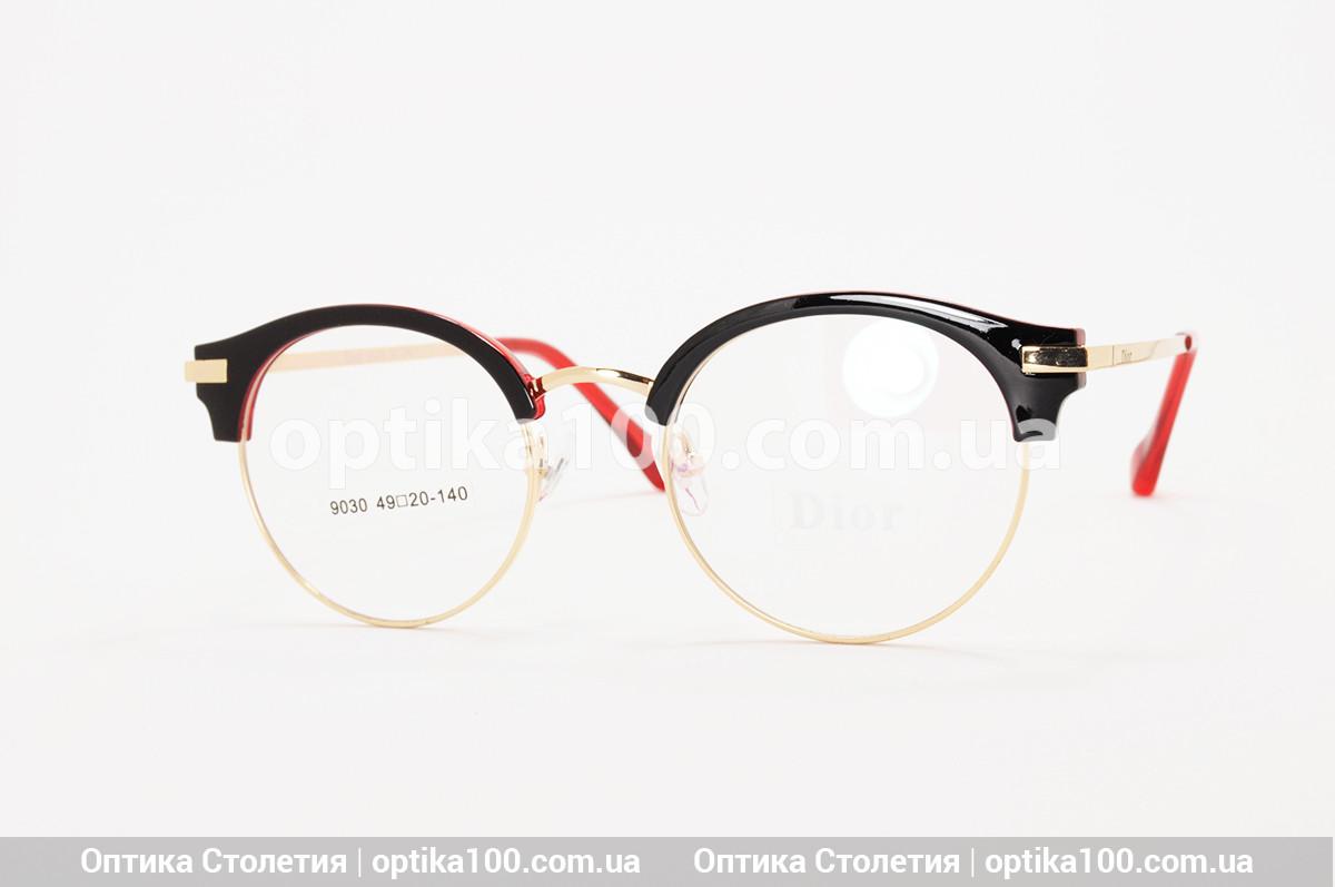 Оправа в стиле Dior. Круглые черно-красные очки