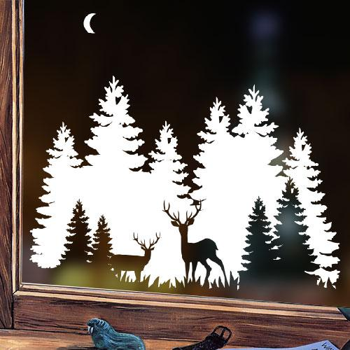 Новорічна наклейка для декору вікна, стіни Сніжні Карпати (ялинки, сніг, олені, місяць)