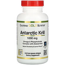 "Масло криля с астаксантином California GOLD Nutrition ""Antarctic Krill with Astaxanthin"" 1000 мг (120 капсул)"