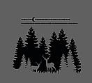 Новорічна наклейка для декору вікна, стіни Сніжні Карпати (ялинки, сніг, олені, місяць), фото 5