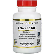 "Масло криля с астаксантином California GOLD Nutrition ""Antarctic Krill with Astaxanthin"" 500 мг (120 капсул)"