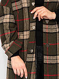 Пальто женское Риччи клетка зеленое, фото 7