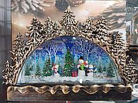 Новогодняя музыкальная композиция « Горка снеговики» со свечами и снегопадом