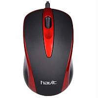 Мышь проводная Havit HV-MS753 USB черный/красный