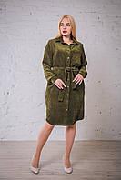 Женское платье - рубашка вельвет цвета оливка от производителя. Размеры: 52, 54, 56, 58. Замеры в описании.