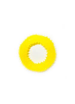 Игрушка для собак FOX кольцо с шипами желтая, 12 см (с запахом ванили)