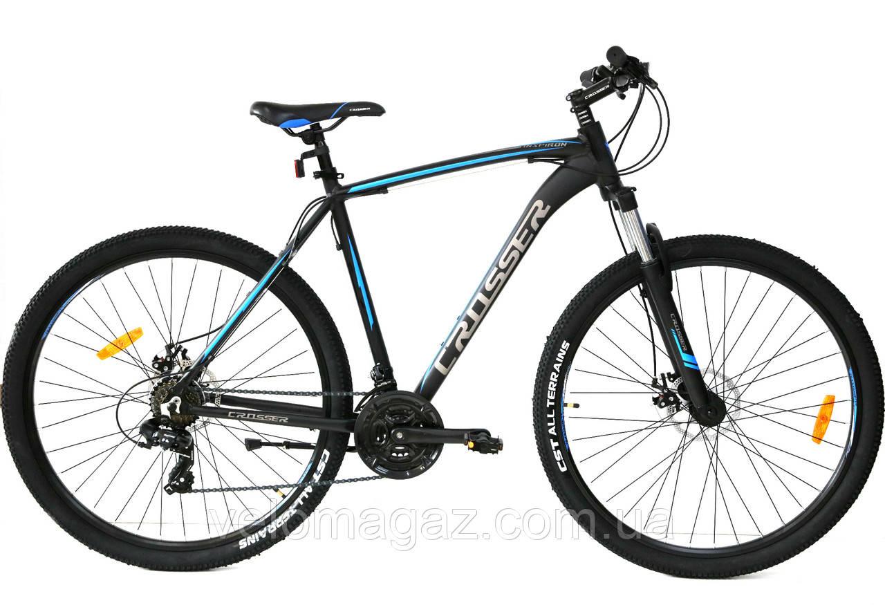 """Велосипед Crosser Inspiron 29"""" рама 22"""" черно-синий, горный алюминиевый"""