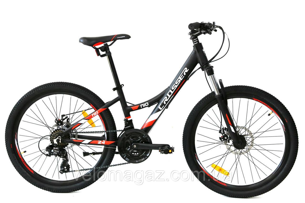 """Велосипед гірський алюмінієвий Crosser Nio Stels 24"""" рама 13"""", чорно-червоний"""