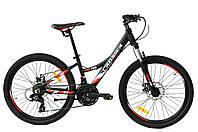 """Велосипед гірський алюмінієвий Crosser Nio Stels 24"""" рама 13"""", чорно-червоний, фото 1"""