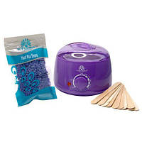 Воскоплав + воск в гранулах + шпатели, набор Global Fashion GF-100-purple