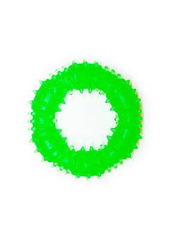 Игрушка для собак FOX кольцо с шипами зеленая, 9 см (с запахом ванили)