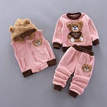 Шикарный велюровый костюм-тройка с мишкой  внутри на флисе качественный  и удобный  замер рукава от плеча
