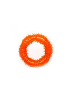 Игрушка для собак FOX кольцо с шипами оранжевая, 12 см (с запахом ванили)