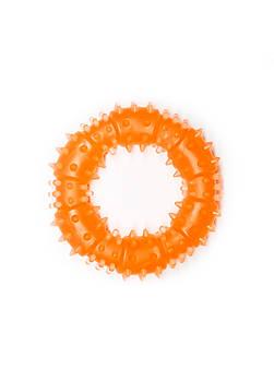 Игрушка для собак FOX кольцо с шипами оранжевая, 9 см (с запахом ванили)