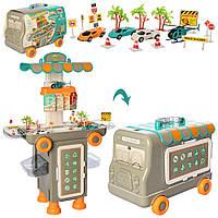 Гараж для ремонта машинок в чемоданчике, СТО на колесах, в наборе 3 машинки 11K07