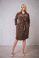 Жіноча сукня - сорочка вельвет кольору капучіно від виробника. Розміри: 52, 54, 56, 58. Виміри в описі.
