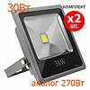 Комплект из 2шт: Светодиодные прожекторы led Oasisled 30w slim теплый свет