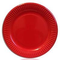 Тарелка бумажная одноразовая красная 18 см\10 шт