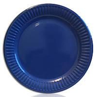 Тарелка бумажная одноразовая синяя 18 см\10 шт