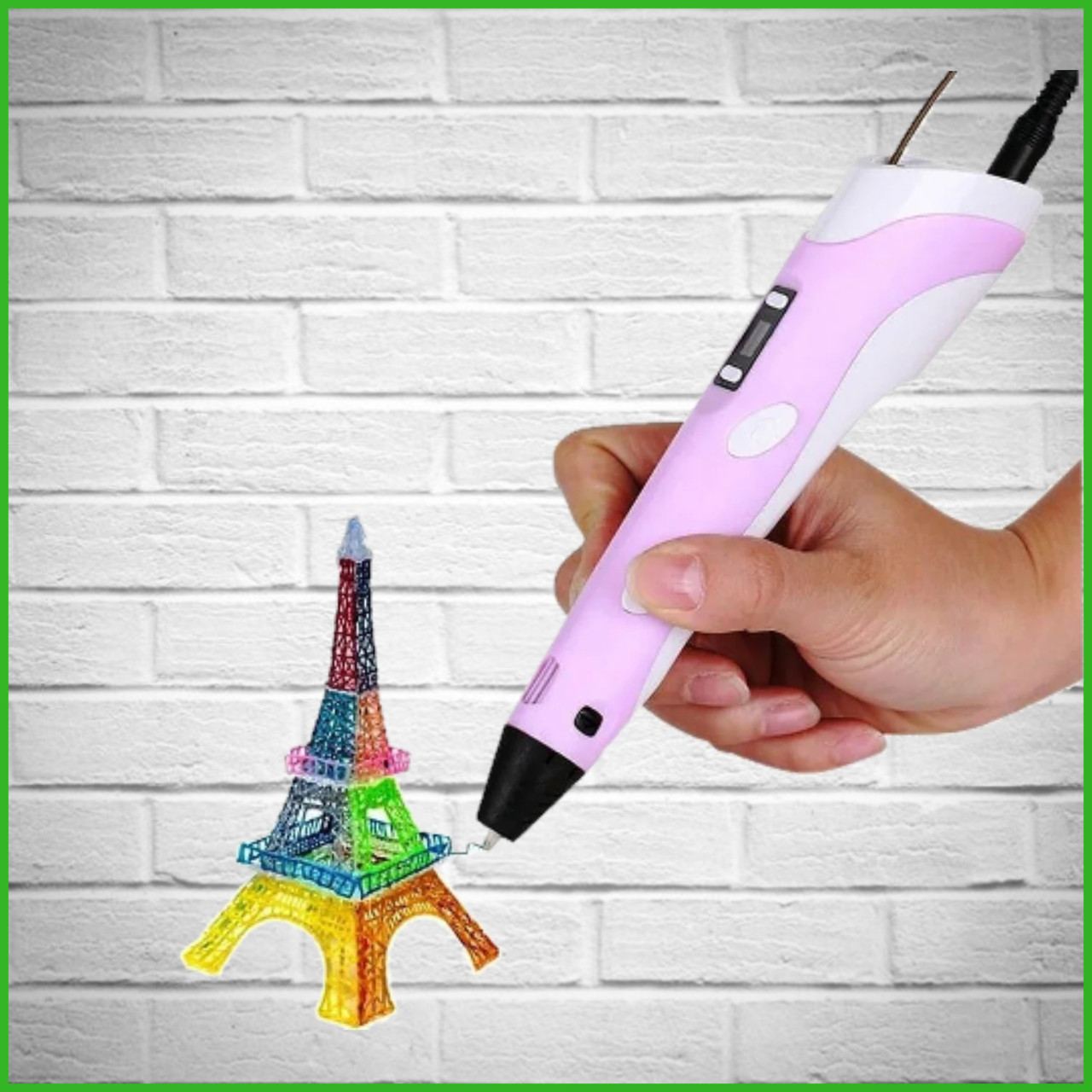 3D Ручка PEN-2 с LCD-дисплеем + Пластик! Крутая ручка для рисования! РОЗОВАЯ