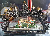 "Новогодний декор лампа ""Новогодняя картина Санта с оленями"" №31"