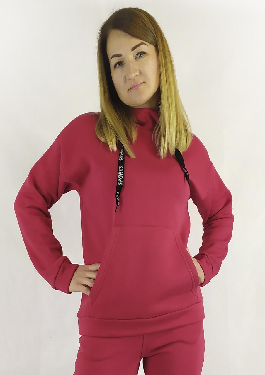 Красная спортивная женская кофта с капюшоном на осень / зима XL, XXL, 3XL